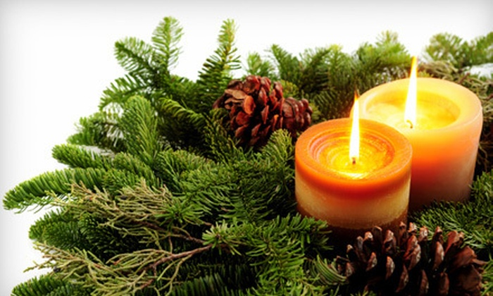 Grandma D's Tree and Wreath Farm - Silverton: 24-Inch Wreath or a Christmas Centerpiece from Grandma D's Tree and Wreath Farm (Up to 53% Off)