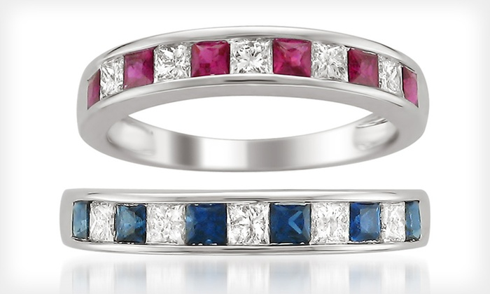 Diamond Rings with Sapphires or Rubies: $399 for a White-Gold Diamond Ring with Sapphires or Rubies in Sizes 4.5–8 ($750 List Price). Free Shipping and Returns.