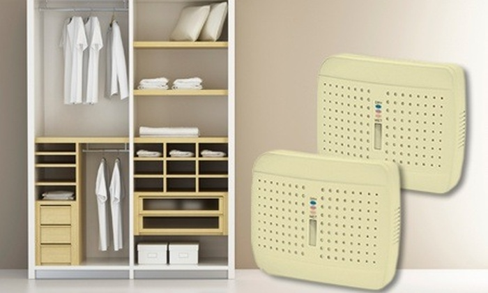 Groupon Goods Global GmbH: Compact Dehumidifiers: Twin Pack from £16.99 With Free Delivery (Up to 52% Off)