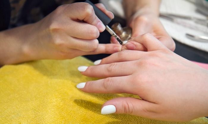 Danny at Bella Moda Hair & Nail Salon - Eileen at Bella Moda Hair & Nail Salon: Basic and Shellac Mani-Pedis from Danny at Bella Moda Hair & Nail Salon (48% Off). Three Options Available.