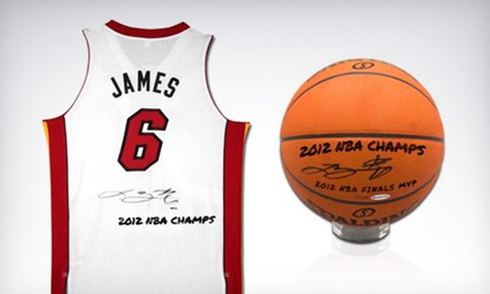 Powers Collectibles: Autographed LeBron James 2012 NBA Champs MVP Ball or Heat Jersey with Shipping from Powers Collectibles (Half Off)