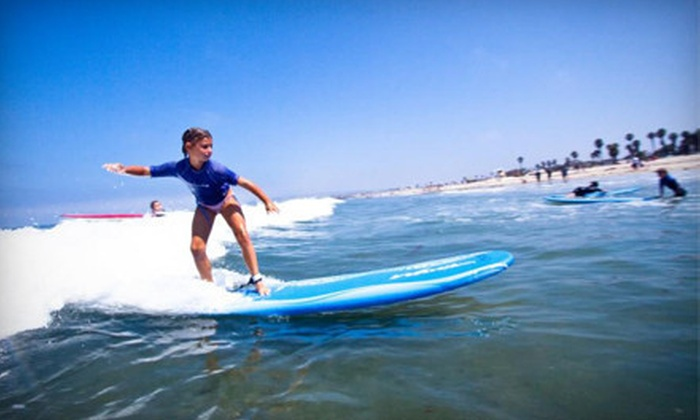 Ocean Experience Surf School - South Mission Beach Jetty: Two-Hour Standup-Paddleboarding Clinic or Three-Hour Group Surf Lesson at Ocean Experience Surf School (Up to 59% Off)