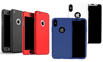 One or Two 360-Degree Cases with Tempered Glass for iPhone 55sSE, 66s, 6 Plus6s Plus, 7, 7 Plus, 8, 8 Plus or X