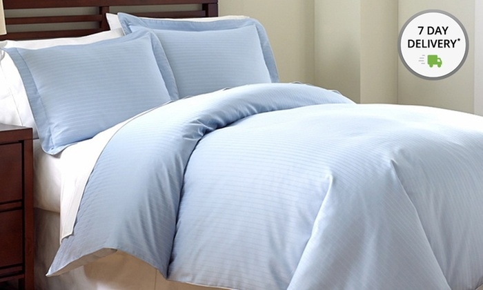 800TC Egyptian Cotton Rich Damask Stripe Duvet Cover Set: Fine Linens by PCT 800TC Damask Stripe Queen or King 3-Piece Duvet Cover Set from $59.99–$69.99. Free Returns.