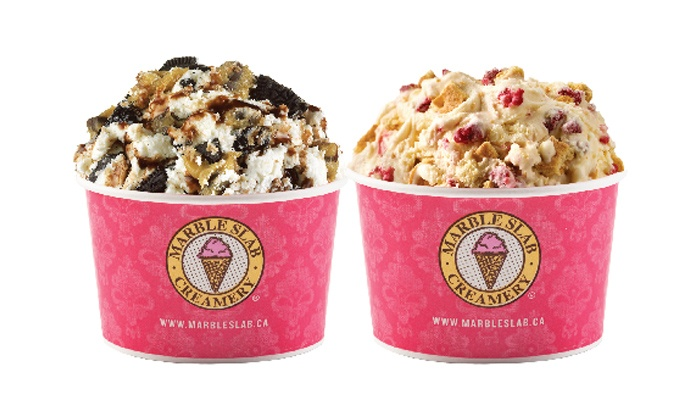 Marble Slab Creamery - West Edmonton Mall: One or Three Vouchers for Two Medium Ice Creams or Low Fat Yogurt and One Mix In at Marble Slab Creamery (Up to 44% Off)