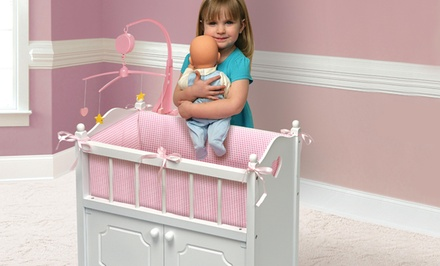 Badger Basket Deluxe Doll Crib with Storage Compartment, Musical Mobile, Bedding, and Wheels. Free Returns.