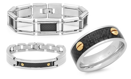 Men's Stainless Steel and Carbon Fiber Bracelets and Rings