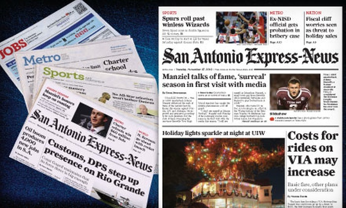 "San Antonio Express News - Downtown Riverfront: 52 or 26 Weeks of Sunday Home Delivery from ""San Antonio Express-News"" (56% Off)"