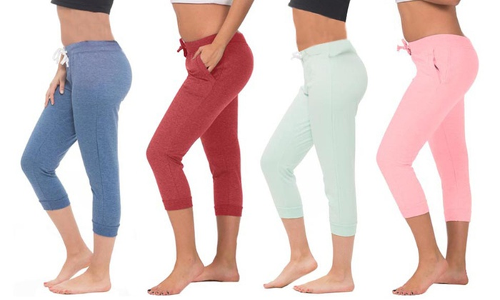 Coco Limon Women's Solid Color French Terry Capri Joggers (2-Pack)