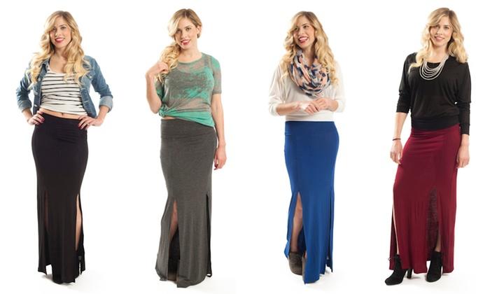 Envizawear Double Slit Maxi Skirt: Envizawear Double Slit Maxi Skirt. Multiple Colors Available. Free Returns.