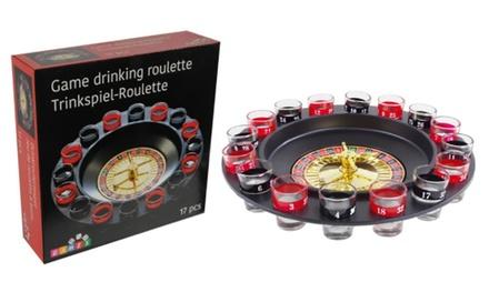 Roulette drankspel met 16 glazen