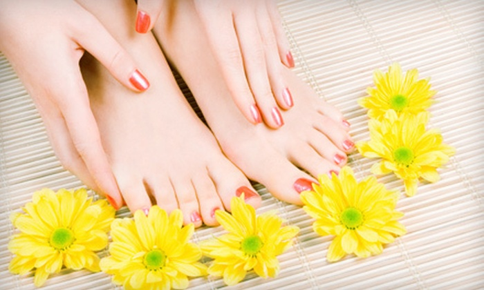 The V Spot Nail Spa - Chelsea,West Hoboken: Pedicure with Regular or Shellac Manicure at The V Spot Nail Spa (Up to 53% Off)