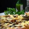 Menú de pizza con bebida