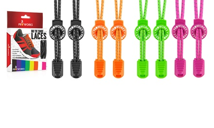 One, Two or Four Pairs of ProWorks No-Tie Reflective Sports Shoelaces