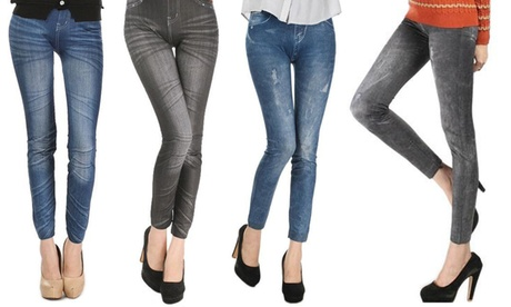 Set 4 leggings di jeans disponibili in 4 assortimenti