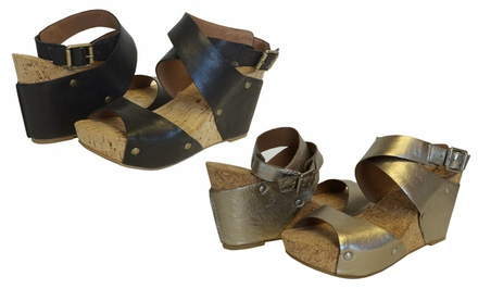 Lucky Brand Moran Wedge Sandals with Leather Upper