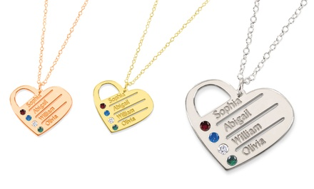 Silver Heart Family Necklace Personalized with Swarovski Birthstones from Monogram Online