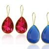 10K Gold-Plated Glass Teardrop Earrings
