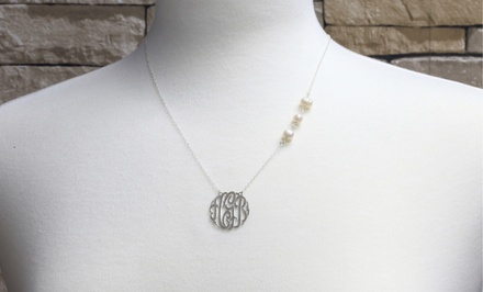 Monogram Online Sterling Silver Monogram Necklace with Freshwater Pearls