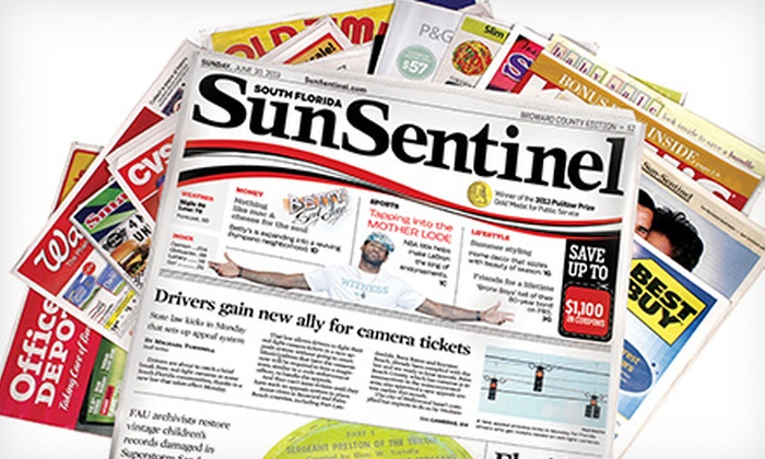 """Sun Sentinel - Deerfield Beach: $10 for a One-Year Sunday Subscription to the """"Sun Sentinel"""" ($208 Value)"""