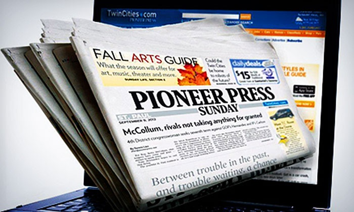 "St. Paul Pioneer Press - Minneapolis / St Paul: 52-Week Subscription to the Sunday Print or Seven-Day Digital Edition of ""St. Paul Pioneer Press"" (Up to 81% Off)"