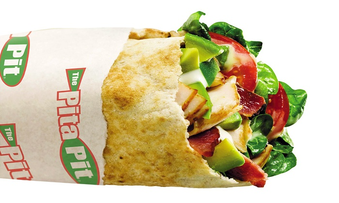 Pita Pit - Oread: Pita Sandwich Meal for Two or Four with Sides and Drinks at Pita Pit (Up to 30% Off)