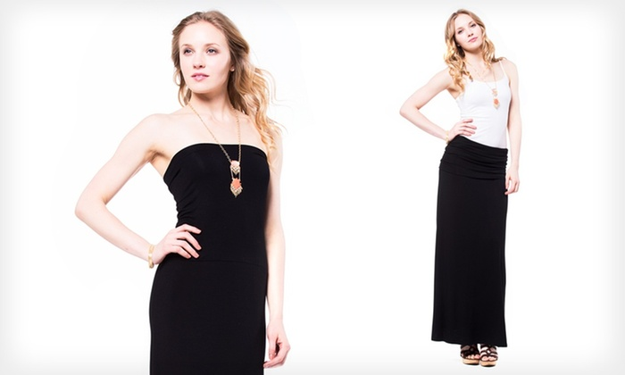 Hayley Convertible Maxi Skirt Dress: Hayley Convertible Maxi Skirt Dress in Black.