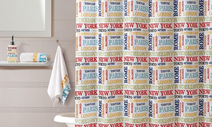 World Traveler Shower Curtain and Bath Set: 16-Piece World Traveler Bath Set with 2 Hand Towels