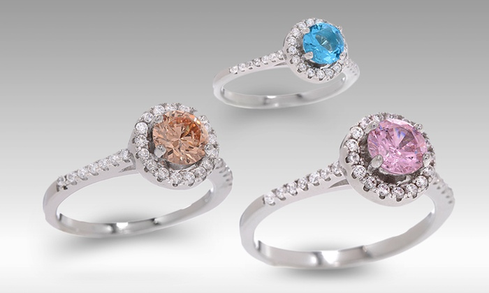 Round Colored Cubic Zirconia Halo Rings: Round Colored Cubic Zirconia Halo Rings. Multiple Styles Available. Free Returns.