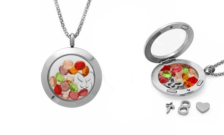 Stainless Steel Magnetic Locket Pendant with Multicolor Crystals
