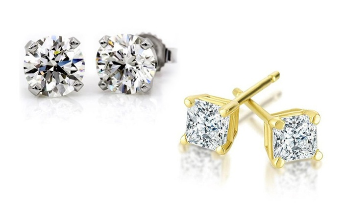 1/2 CTTW Diamond Solitaire Earrings in 14K Gold by Today Tomorrow Together: 1/2 CTTW Diamond Solitaire Earrings in 14K Gold by Today Tomorrow Together