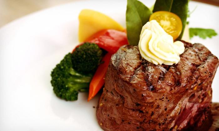 Grillfire Long Beach - Long Beach: $39 for an American Dinner with Wine for Two at Grillfire Long Beach (Up to $86 Value)