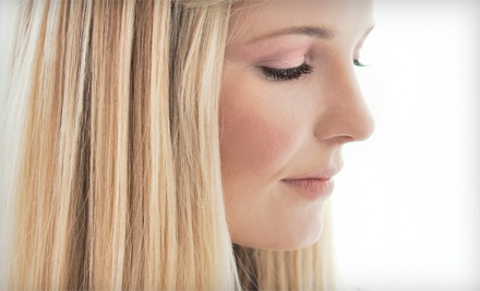 Haircut with Moroccanoil Treatment, Full Color, or Partial Highlights at Millennium Day Spa & Salon (Up to 68% Off)