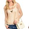 Women's Open-Stitch Crochet Sweater (Size M)