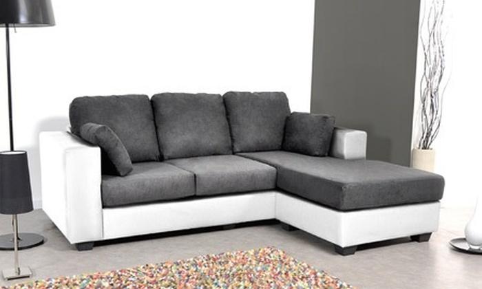 canap d angle r versible rev tement simili cuir et microfibre groupon shopping. Black Bedroom Furniture Sets. Home Design Ideas
