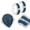 1.00 CTTW Blue and White Diamond Ring or Earrings in Sterling Silver