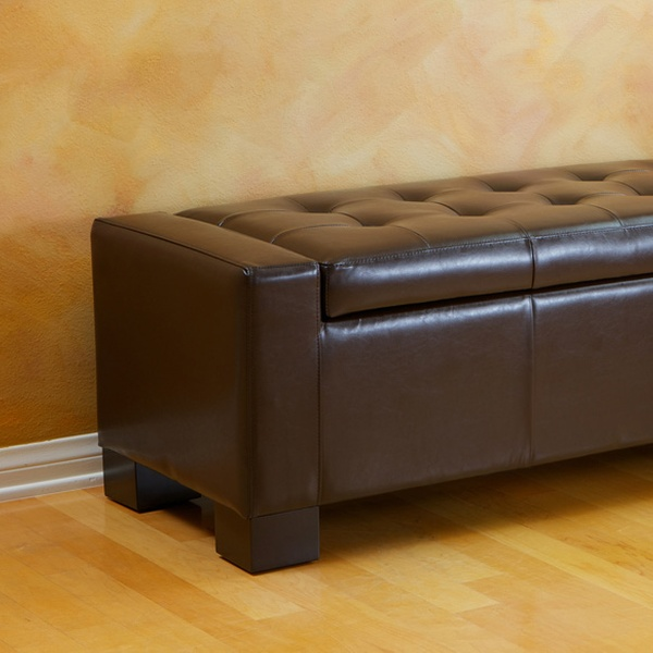 Admirable Tufted Leather Storage Bench Ottomans Multiple Colors Available Free Shipping Gamerscity Chair Design For Home Gamerscityorg
