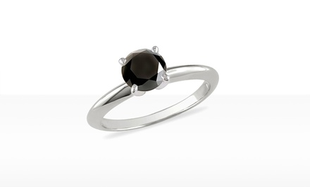 1-Carat Black Diamond Solitaire Ring in 14K Gold by Femme Luxe. Free Returns.