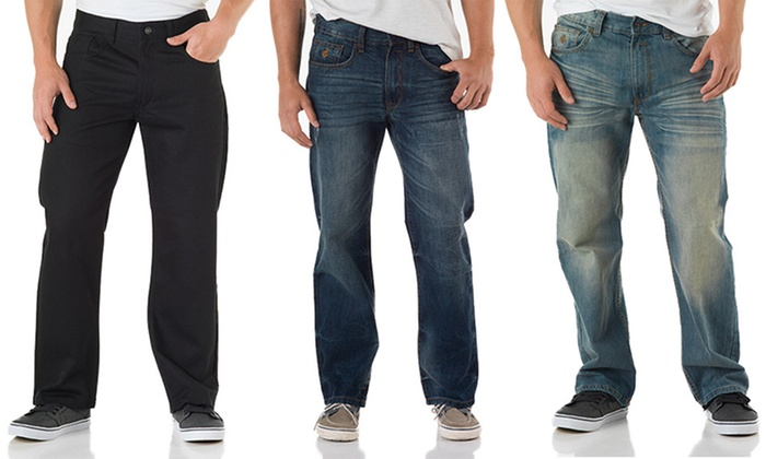 Rocawear Flame Stitch Men's Relaxed-Fit Jeans: Rocawear Flame Stitch Men's Relaxed-Fit Jeans