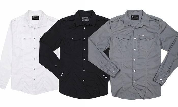 Marc ecko men 39 s long sleeve military shirt groupon for Marc ecko dress shirts
