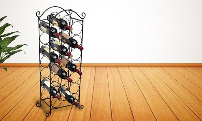 21-Bottle Stainless Steel Black Free-Standing Wine Rack