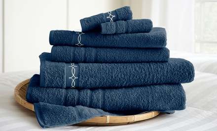 6-Piece 100% Egyptian Embroidered Cotton Towel Set