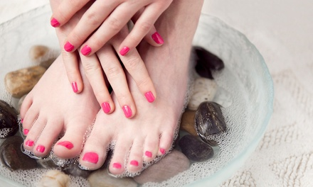 One or Two Hot Stone Mani-Pedis at Spa Nails II (Up to 42% Off)