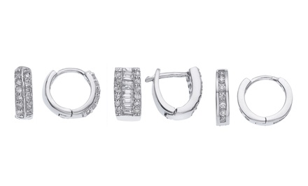 Sterling Silver and Cubic-Zirconia Huggies. Multiple Styles Available.