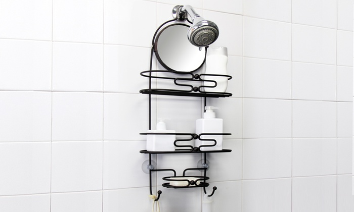 Bronze Shower Caddy with Mirror | Groupon Goods