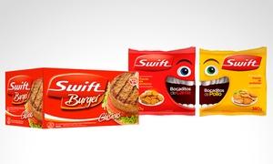 Promo Fiesta: 1 o 2 cajas de 20 hamburguesas Swift + 1 o 2 bocaditos a elección con opción a 20 o 40 panes y aderezo con Promo Fiesta