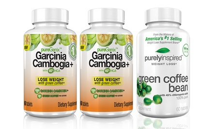 2-Pack of Garcinia Cambogia with 60% HCA with Free Bottle of 60-Count Green Coffee Bean
