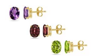 Oval Genuine Gemstone Stud Earrings in 14K Gold by Pori