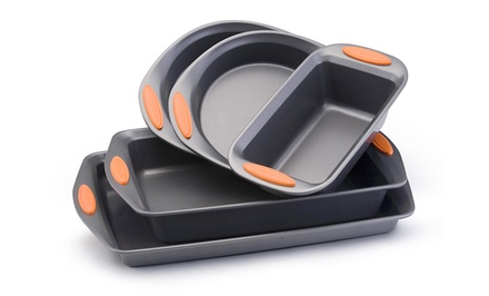 Rachel Ray Yum-O Non-Stick Bakeware 5-Piece Set with Cookie Sheet, Cake Pan, Loaf Pan, and Round Cake Pans