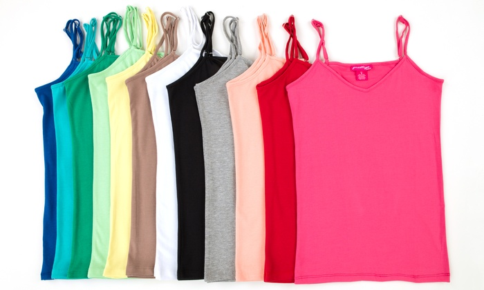 0447535470 12-Pack of Ladies' V-Neck Cami Tank Tops | Groupon